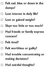 checklist of depression symptoms