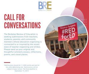 Image describing call of conversation due september 15th on teacher activism