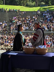 Gloria receiving her degree.