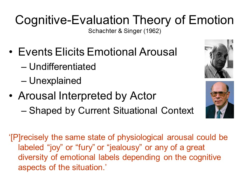 cognitive theories of emotion emotions are According to appraisal theories, cognitive appraisals start the emotional process lazarus (1966, 1982) proposed an influential theory distinguishing between three forms of appraisal – primary, secondary and reappraisal.
