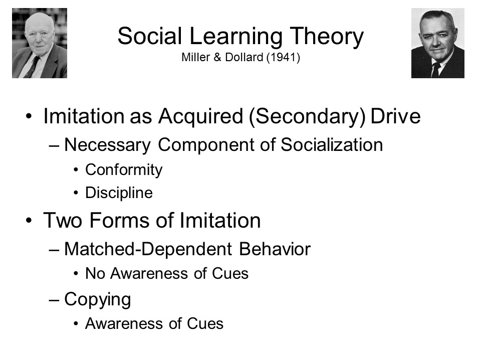 dollard and miller outline Learning to be a person: behaviorism and social learning theories chapter outline social learning theory dollard and miller's social learning theory.