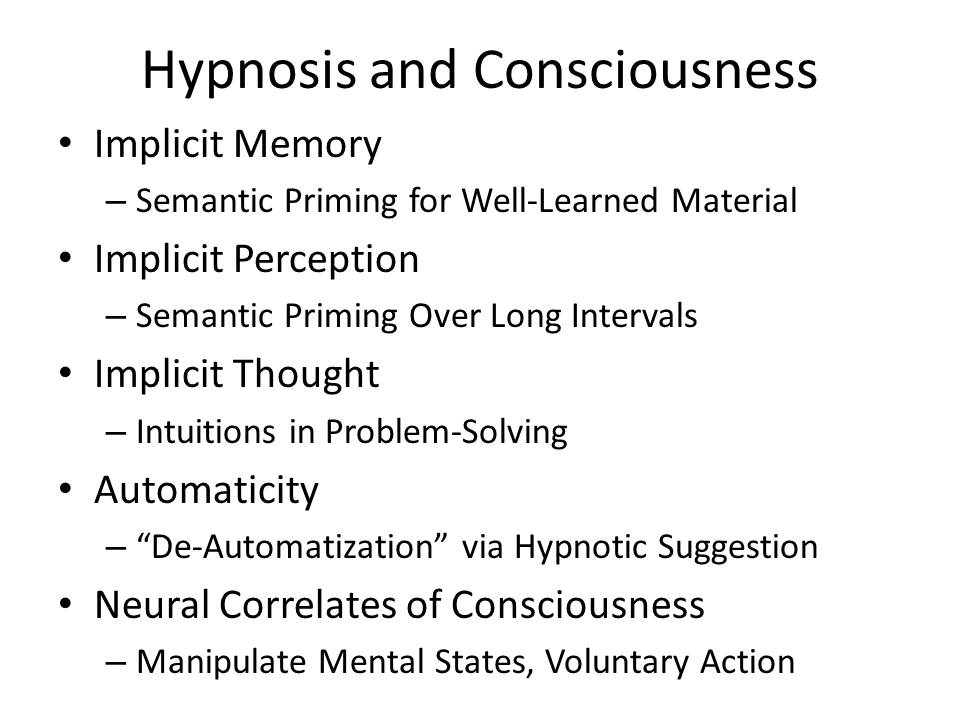 theories of hypnosis Hypnosis is a state of human consciousness involving focused attention and reduced peripheral awareness and an enhanced capacity to respond to suggestion the term may also refer to an art, skill, or act of inducing hypnosis theories explaining what occurs during hypnosis fall into two groups.