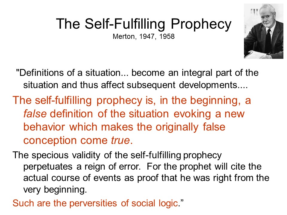 self fulfilling prophecy definition sociology
