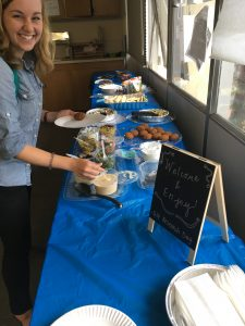 Lunch spread with welcome sign