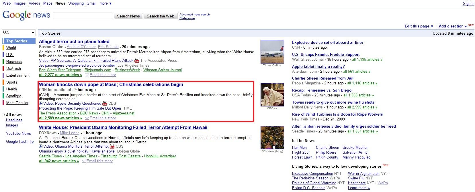 Google News Slip Up